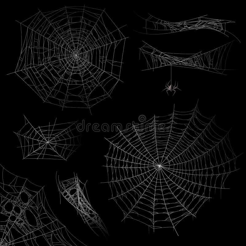 Cobweb Spider-Web-halloween-Dekorationselemente, Gossamer-Falle Spooky ängstliche und schreckliche Silhouetten für Tätowirealisti lizenzfreie abbildung