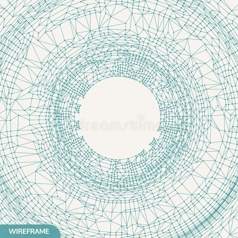 Cobweb or spider web. Network abstract background. Connection Structure. 3D technology style. Wireframe vector illustration royalty free illustration