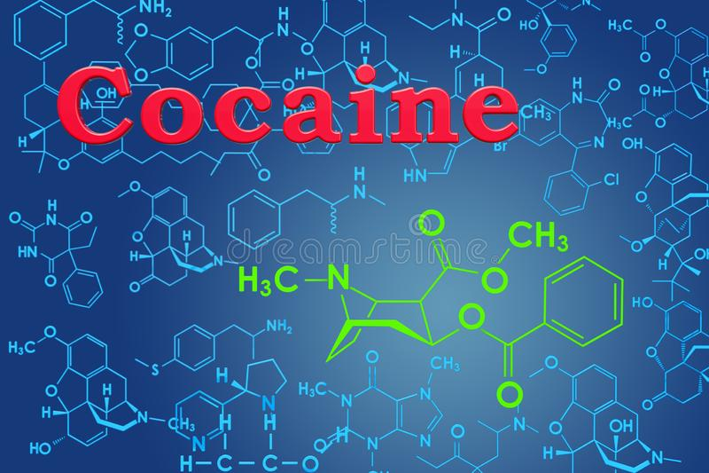 cocaína Fórmula química, estructura molecular representación 3d stock de ilustración