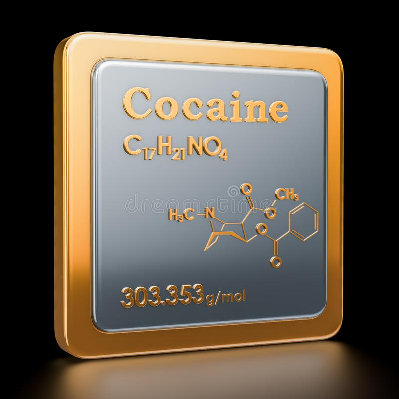 cocaína Icono, fórmula química, estructura molecular renderi 3D stock de ilustración