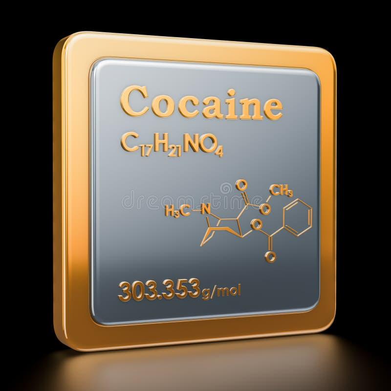 cocaïne Icône, formule chimique, structure moléculaire renderi 3D illustration stock
