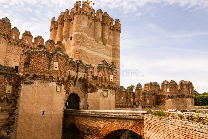 Coca Castle (Castillo DE Coca) is een binnen geconstrueerd vestingwerk stock afbeeldingen
