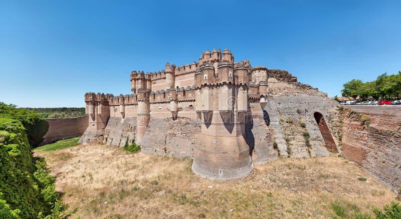 Coca Castle - de 15de eeuw Mudejar kasteel royalty-vrije stock foto
