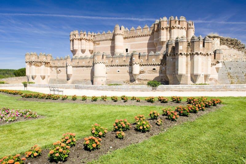 Coca Castle, Segovia landskap, Castile och Leon, Spanien arkivbilder