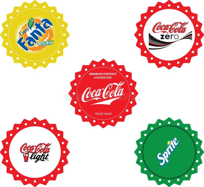 Coca-Cola butelki nakrętki obrazy royalty free