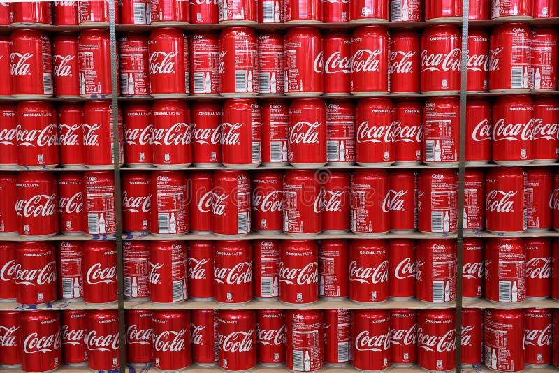 Coca Cola cans. Dozens of Coca Cola cans stock photo