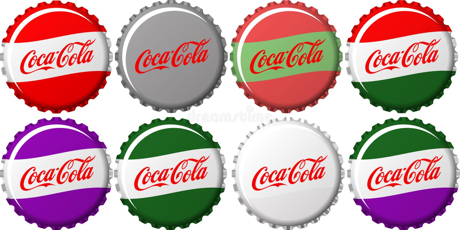 Coca Cola Caps royaltyfri illustrationer