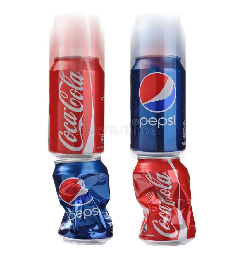 Coca-cola contre Pepsi-cola photo libre de droits
