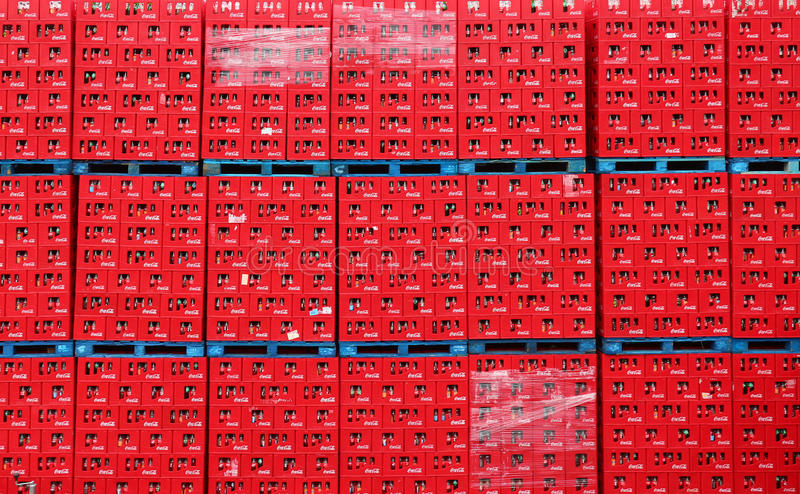 Coca Cola crates. Waiting to be shipped in a warehouse stock image