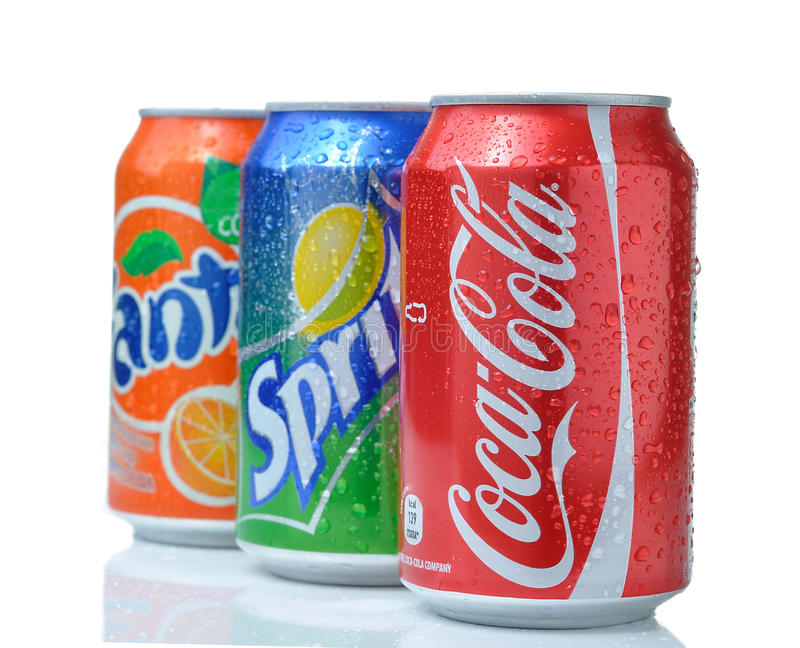 Coca cola, fanta, sprite cans. With reflection and drops on white background