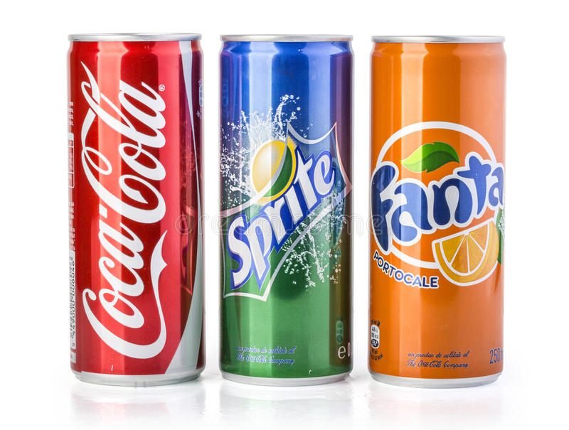 Coca Cola Fanta And Sprite Cans Isolated On White