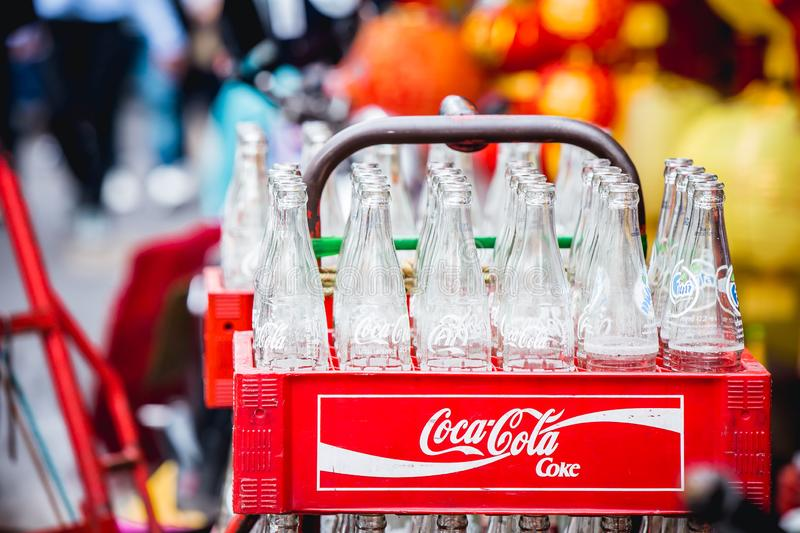 Coca Cola glass bottles of soda pop soft drinks royalty free stock photos