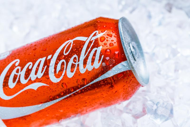 Coca - cola kan på iskuber royaltyfri bild
