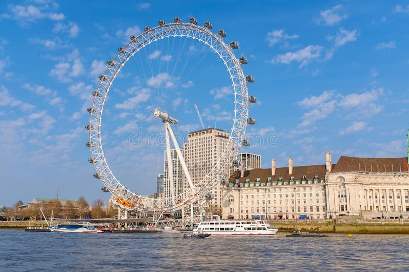The Coca-Cola London Eye in London. The Coca-Cola London Eye in Central London on the banks of river Thames royalty free stock images