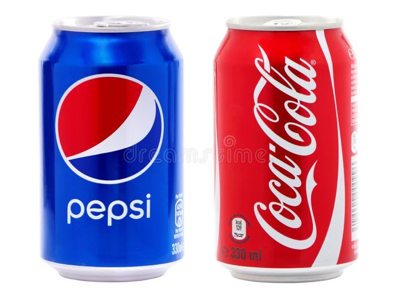 Coca-cola och Pepsi cans royaltyfria bilder