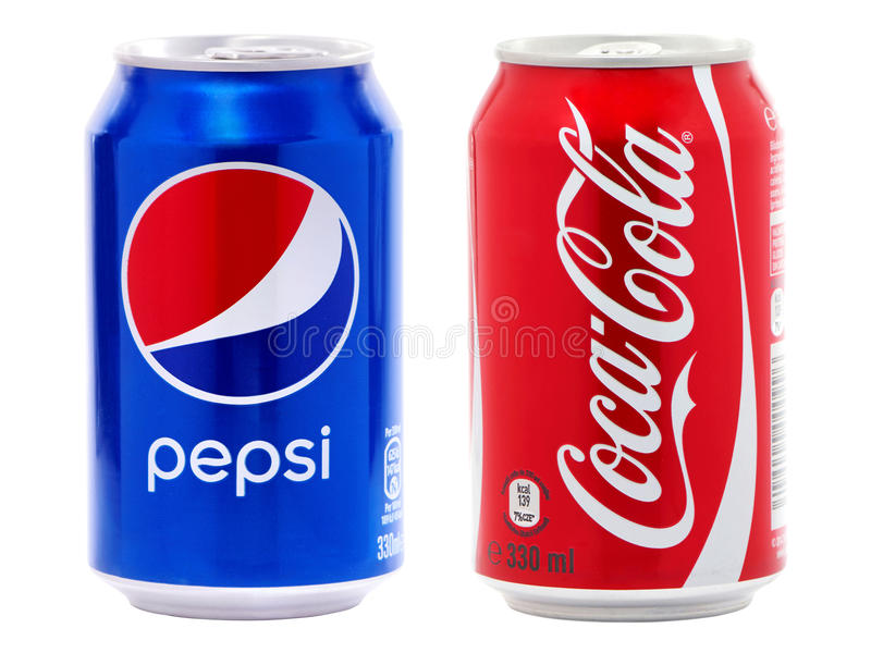 Coca-Cola and Pepsi cans royalty free stock images