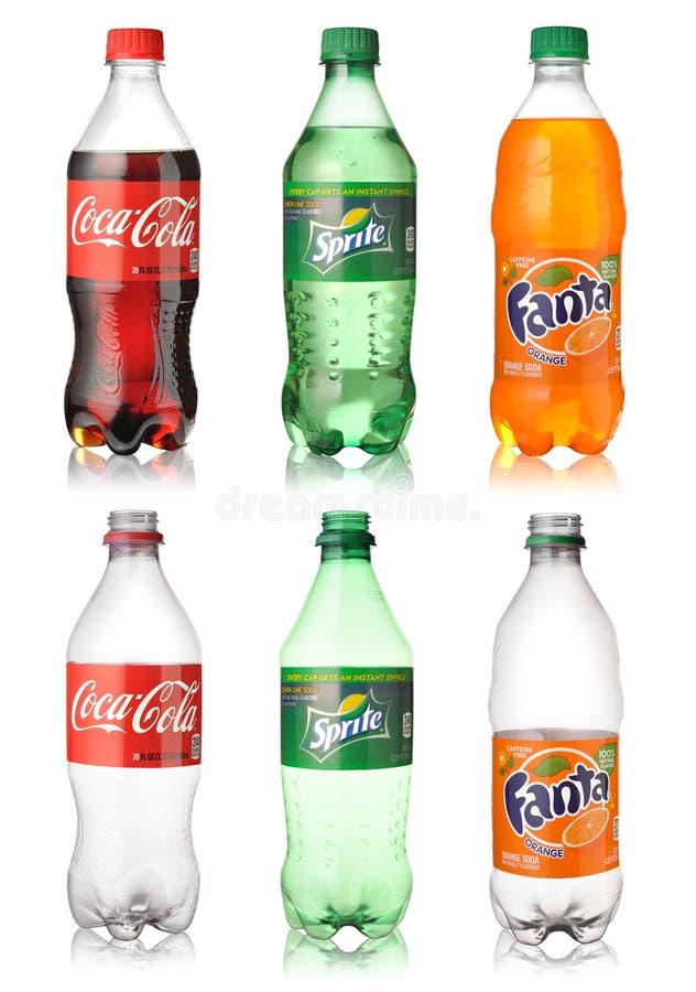 Coca - cola, Sprite och Fanta arkivbild