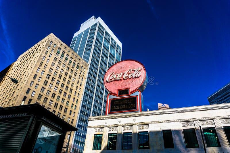 Coca-Cola-Teken in Atlanta Van de binnenstad stock foto's