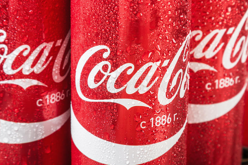 Coca Cola in a tin can stock images
