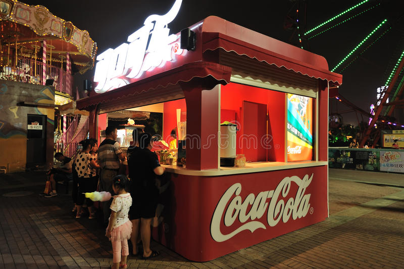 Coca Colastand in Chengdu lizenzfreies stockfoto