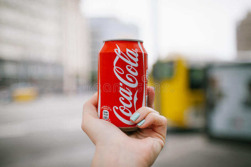 Coca-colatijd in Barcelona stock foto