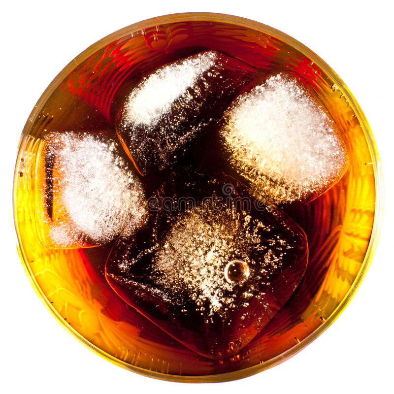 Coca with ice in a glass stock image
