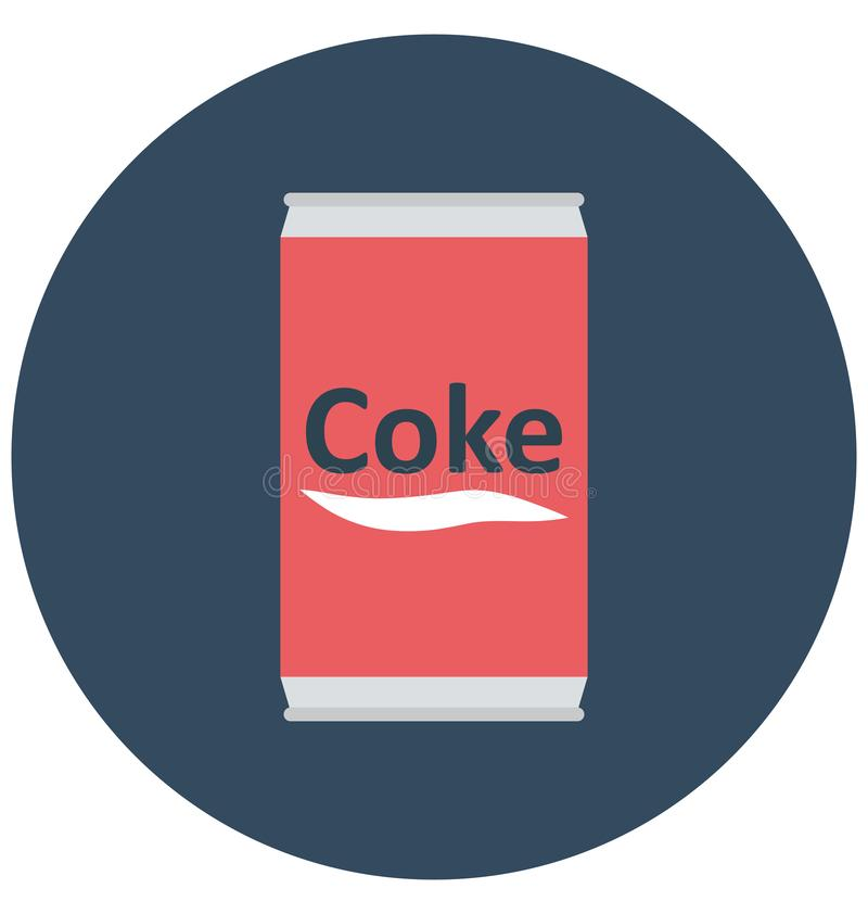 Cocacola, coke tin Isolated Color Vector Icon that can be easily modified or edit. vector illustration