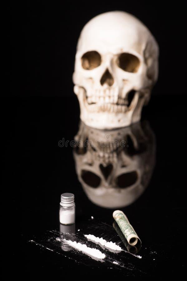 Cocaina o altre droghe illegali immagine stock