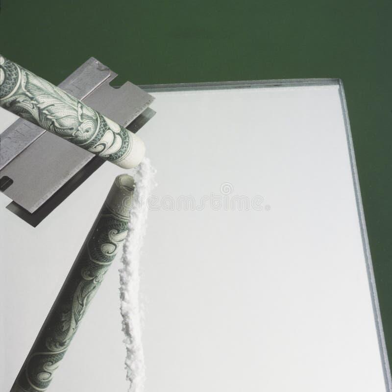 Cocaina sullo specchio fotografia stock libera da diritti