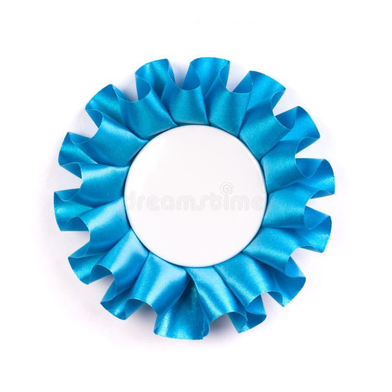 Coccarda blu del premio con l'interno vuoto in bianco dello spazio fotografia stock