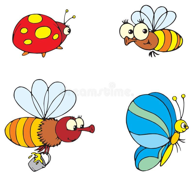 Coccinella, farfalla ed ape illustrazione vettoriale