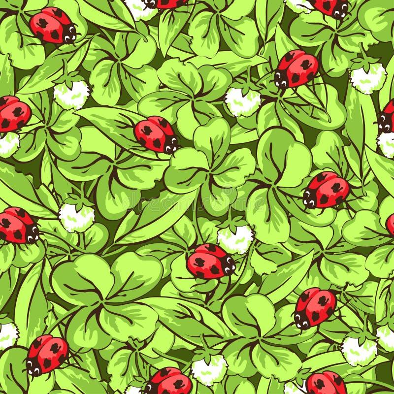 Coccinella, foglie e fiori dello scarabeo del disegno della mano del fumetto del modello senza cuciture del trifoglio, fondo di v illustrazione di stock
