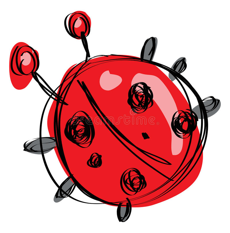 Coccinella rossa del bambino del fumetto in uno stile puerile ingenuo del disegno royalty illustrazione gratis