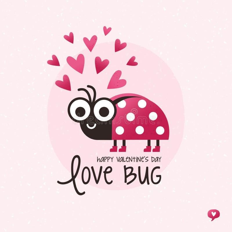 Coccinella sveglia dell'insetto di amore della carta di giorno di biglietti di S. Valentino royalty illustrazione gratis
