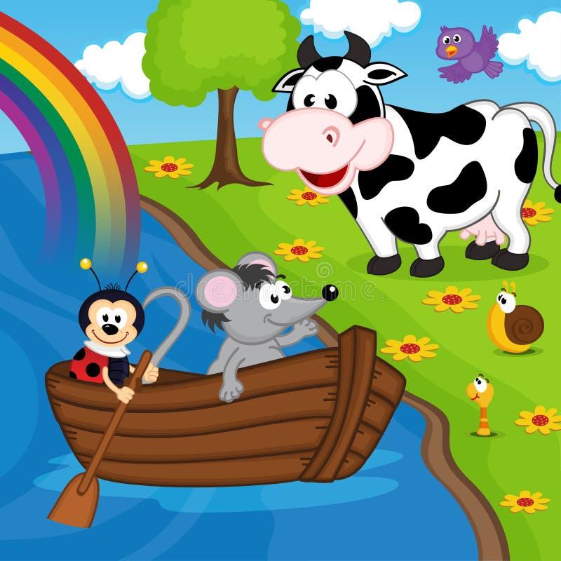 Coccinelle de souris sur le bateau sur la rivière illustration libre de droits