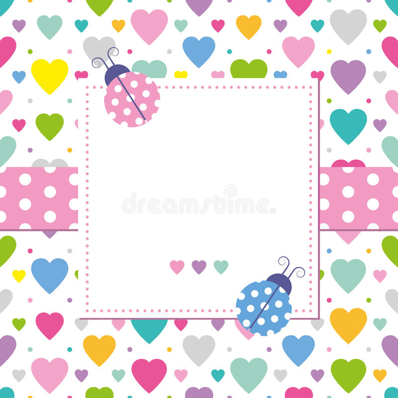 Coccinelle e cartolina d'auguri dei cuori illustrazione di stock