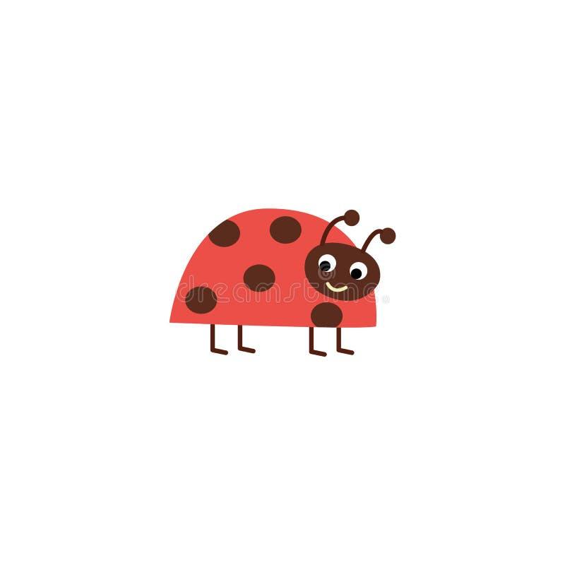 Coccinelle mignonne de bande dessinée se tenant et souriant, insecte rouge heureux avec les taches brunes illustration stock