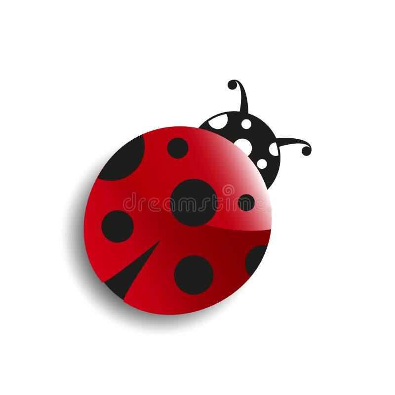 Coccinelle mignonne de dessin animé Symbole chanceux Bonne chance Ressort, été, insecte, rouge, objet, jardin, insecte, noir, poi illustration de vecteur