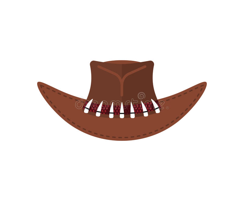Coccodrillo australiano Hunter Cap Cappello marrone del cowboy isolato illustrazione vettoriale
