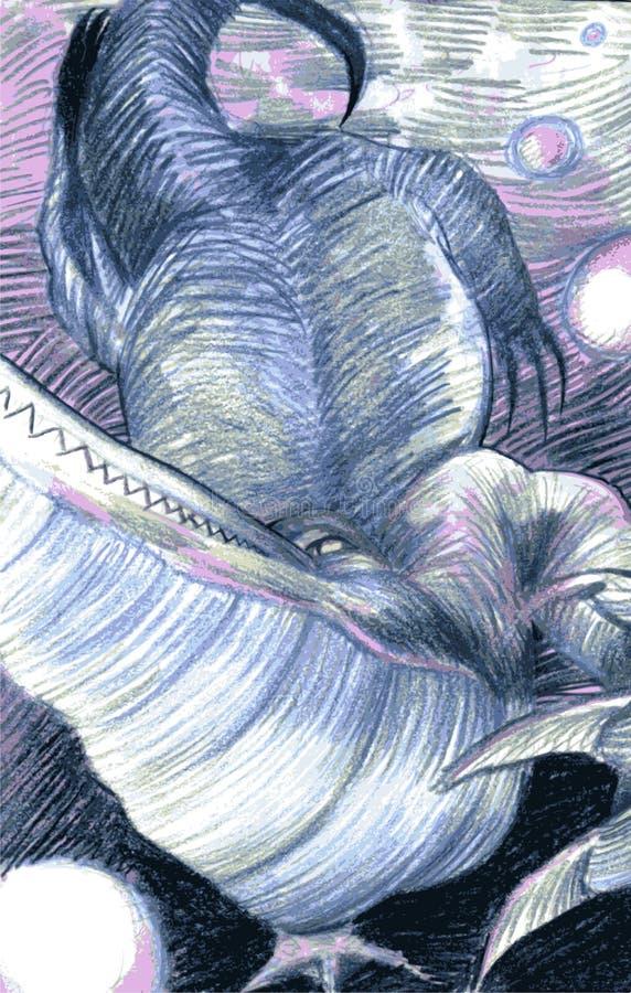 Coccodrillo disegnato a mano fotografie stock