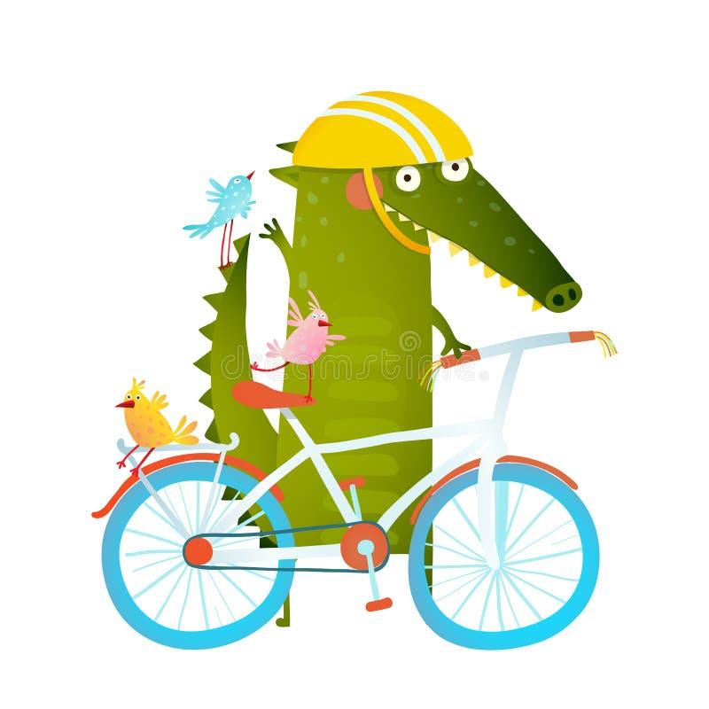 Coccodrillo divertente verde del fumetto in casco con gli amici degli uccelli e della bicicletta illustrazione vettoriale