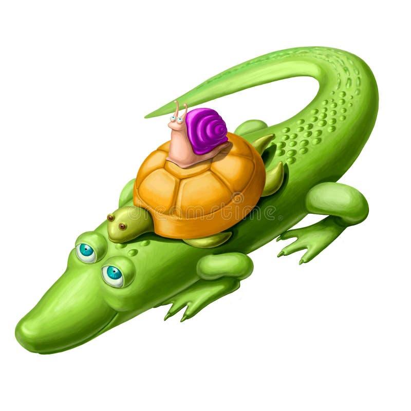 Coccodrillo e tartaruga gentili con la lumaca illustrazione vettoriale