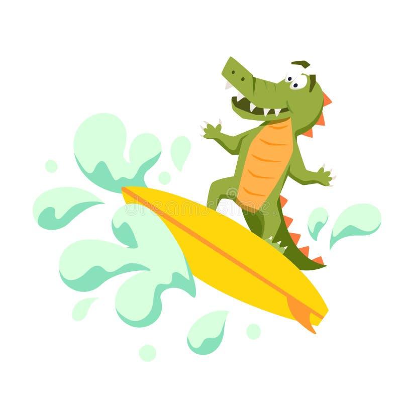 Coccodrillo fresco del surfista illustrazione di stock