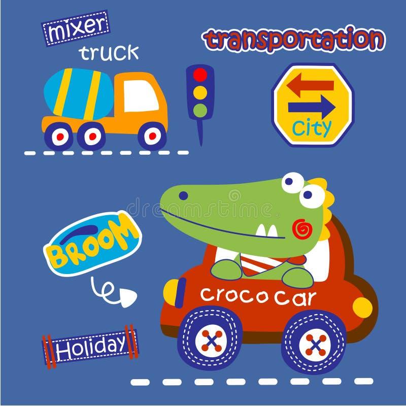 Coccodrillo il fumetto divertente del driver, illustrazione di vettore fotografia stock