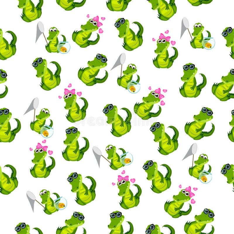 Coccodrillo o alligatore sveglio illustrazione vettoriale