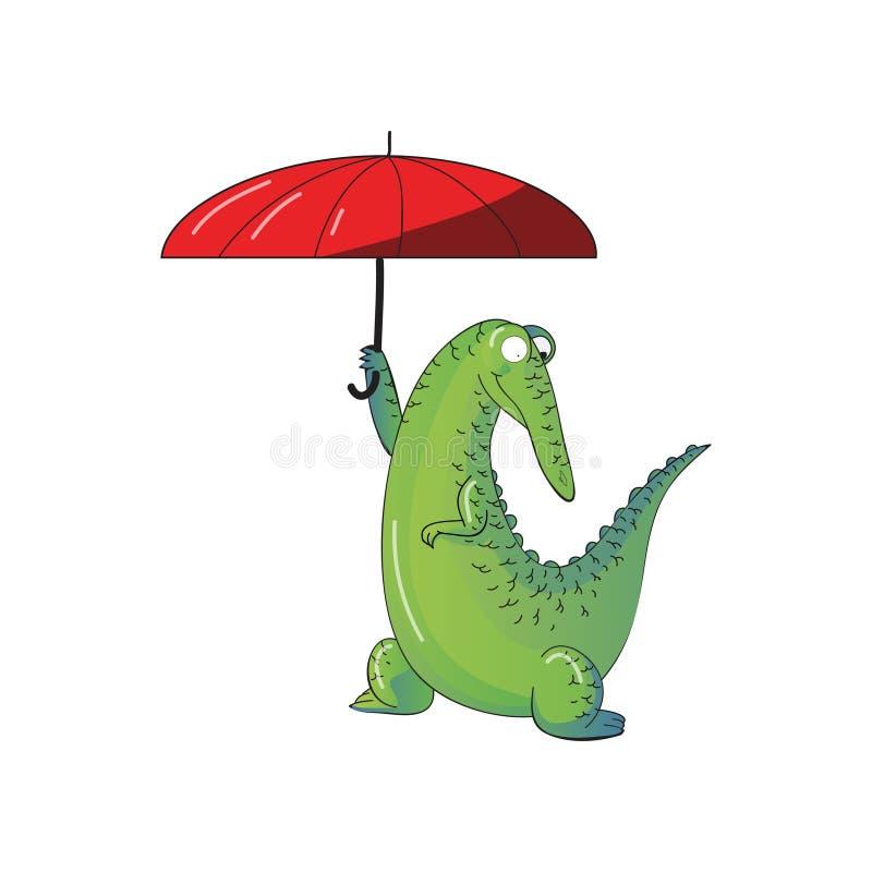 Coccodrillo umanizzato divertente che tiene ombrello rosso luminoso Alligatore verde Animale selvatico Progettazione di vettore d illustrazione vettoriale