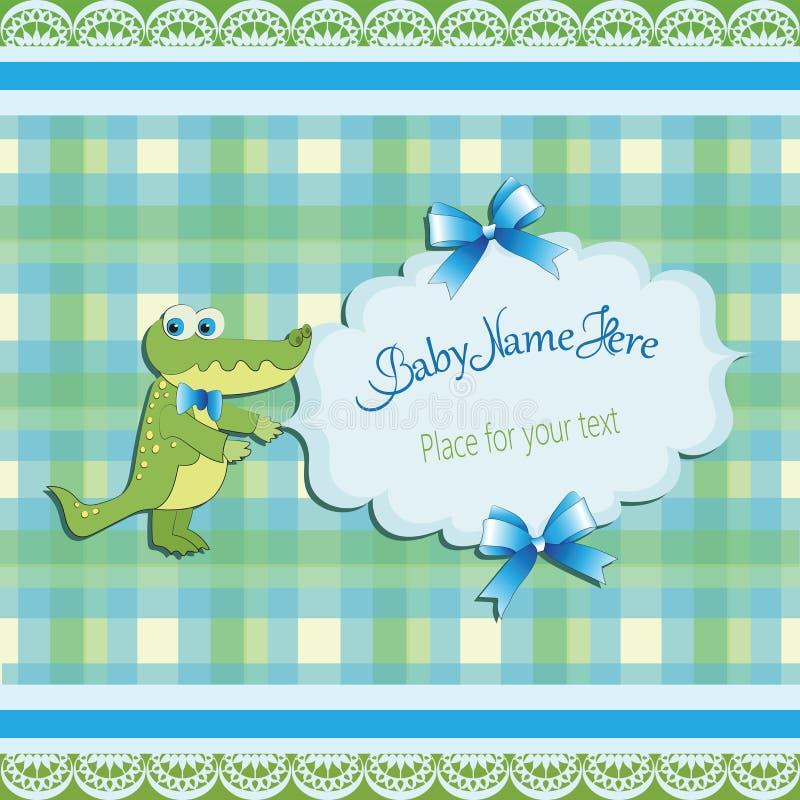 Coccodrillo verde divertente Acquazzone di bambino illustrazione vettoriale