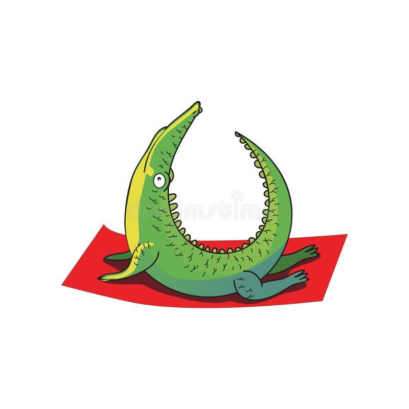 Coccodrillo verde umanizzato che fa esercizio di allungamento Personaggio dei cartoni animati divertente Stile di vita sano Diseg illustrazione vettoriale