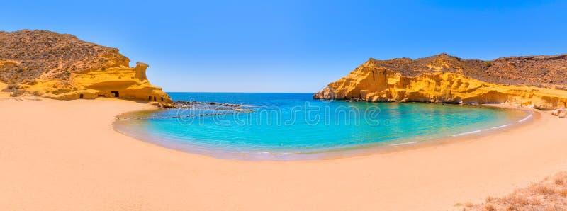 Cocedoresstrand in Murcia dichtbij Aguilas Spanje royalty-vrije stock fotografie