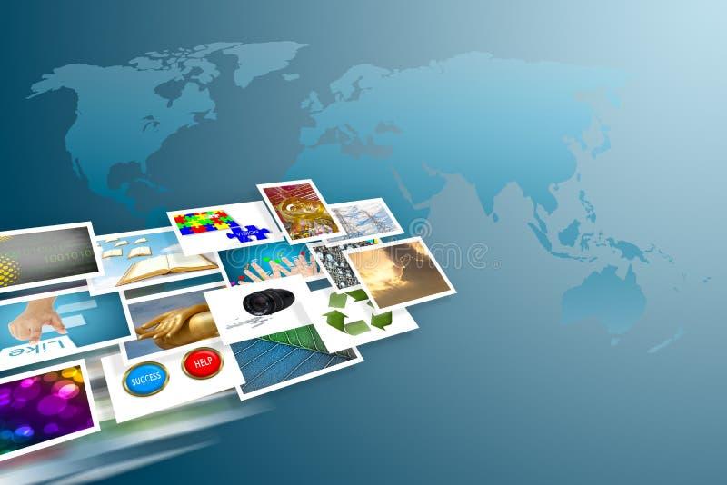 Cocept e imagens sociais dos media em torno do mundo ilustração stock